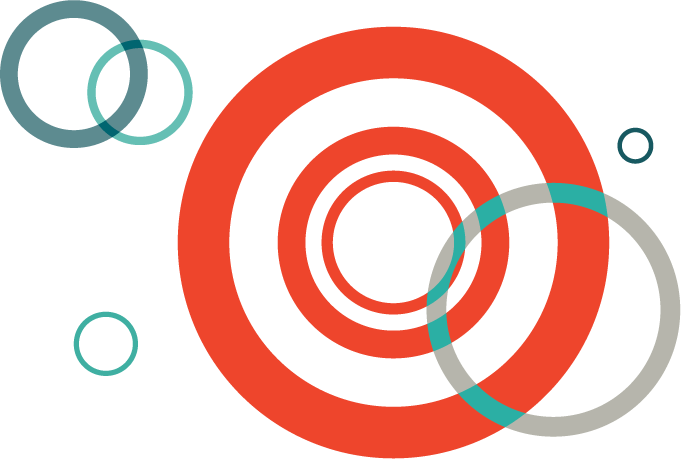 graphic with red blue and gray circles